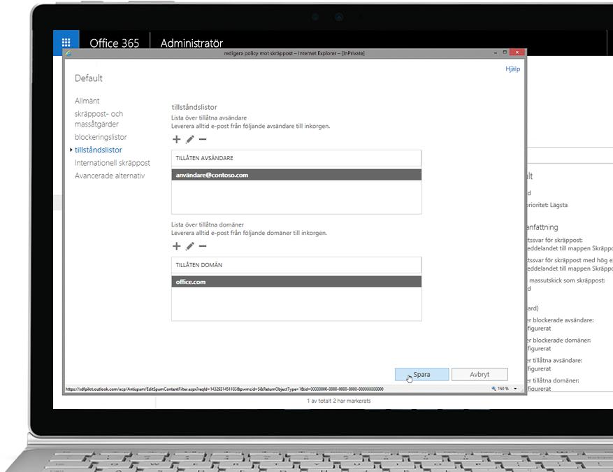 En surfplatta visar redigering av skräppostprincipen i Office 365 Admin-konsolen med en tillåten avsändare och domän