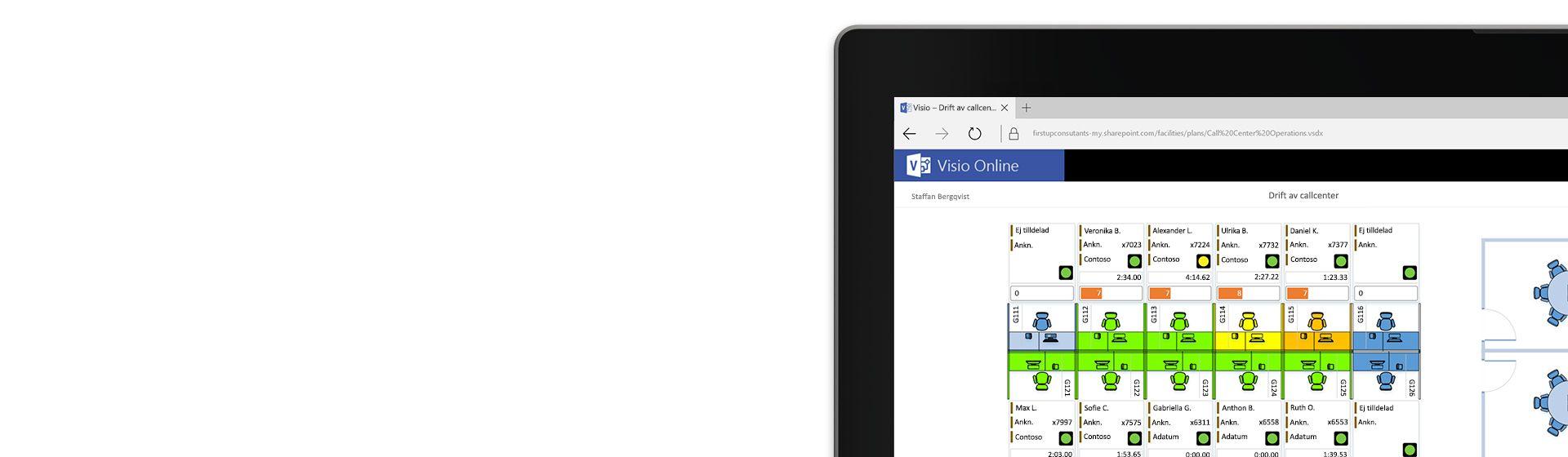 Hörnet av skärmen på en bärbar dator som visar ett planritningsdiagram för ett callcenter i Visio