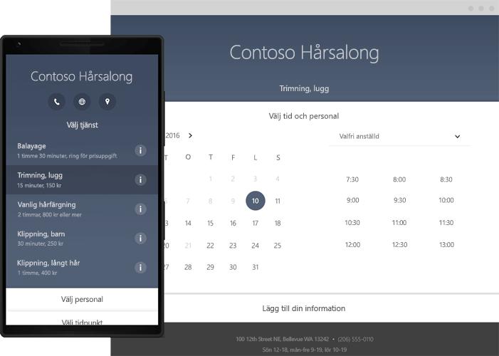 En telefon visar verktyget för onlineschemaläggning i Office 365 Bookings.