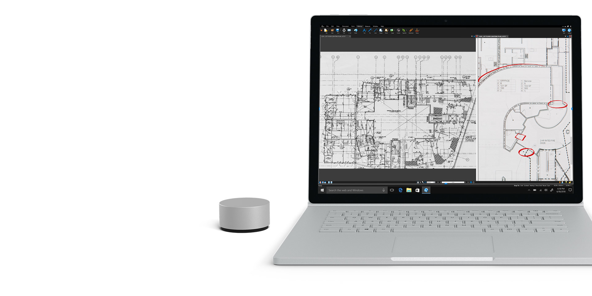 Bluebeam på en Surface Book 2-skärm