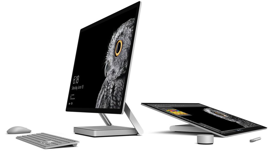 Bild av Surface Studio i skrivbordsläge och Studioläge med Dial, penna och tangentbord.
