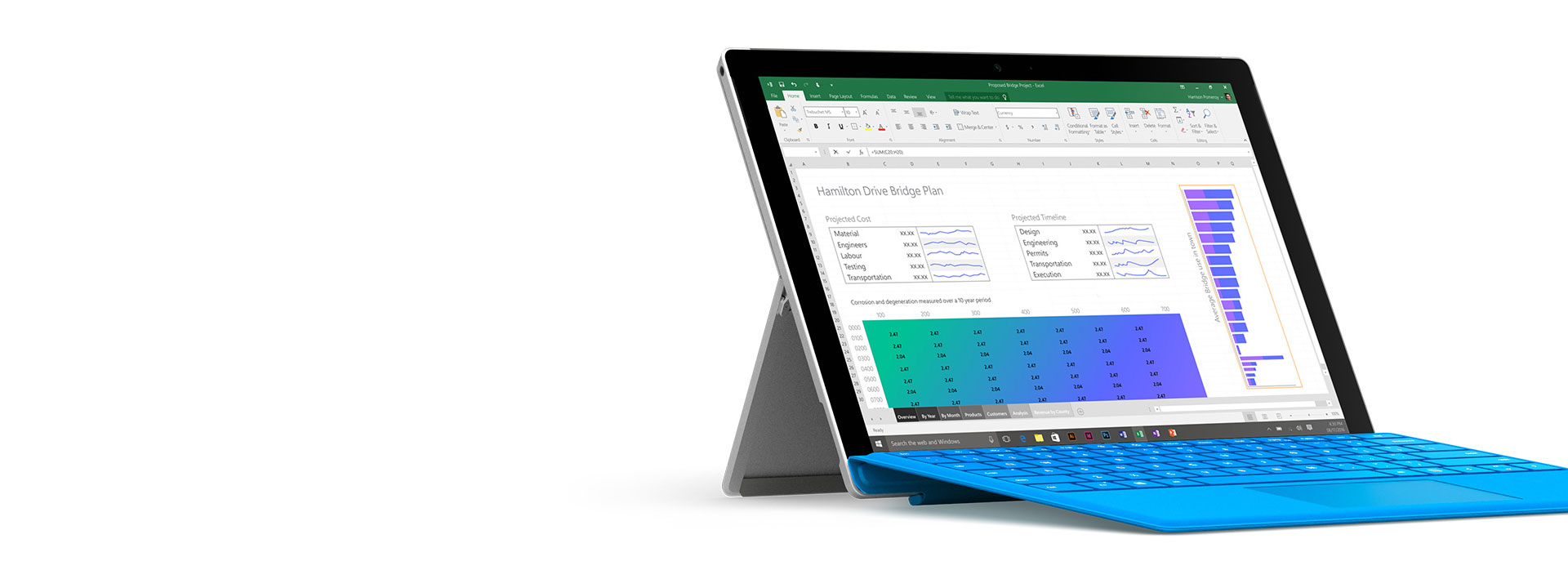 Surface Pro 4 with Excel open on the screen