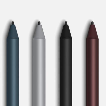 Surface-pennor i koboltblått, platina, svart och vinrött