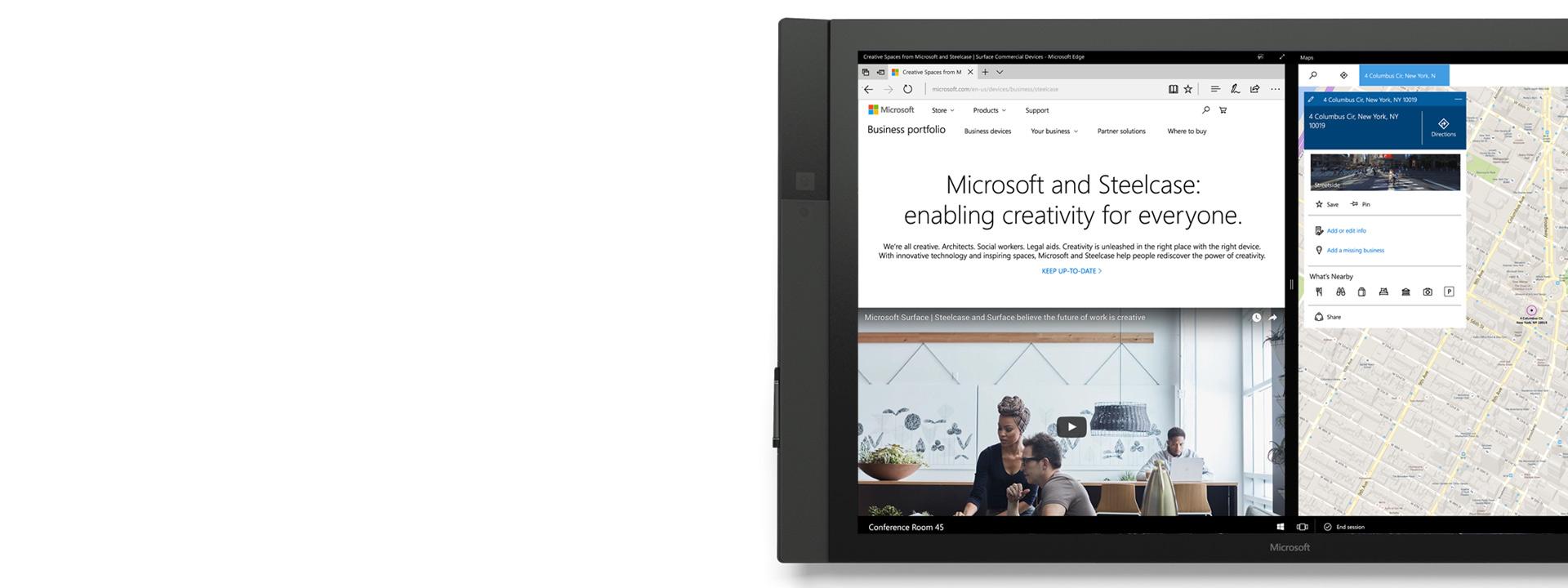 Microsoft Edge visas på Surface Hub.