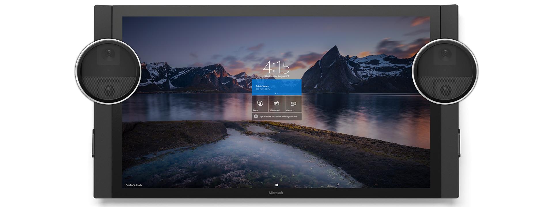 Vy framifrån av Surface Hub med startskärm med naturtema, med kameror och sensorer förstorade.