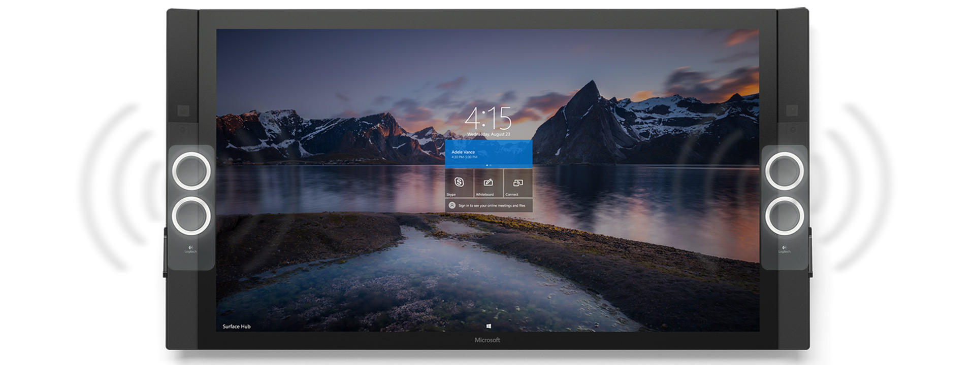 Vy framifrån av Surface Hub med startskärm med naturtema, med illustrationer som visar högtalarna vibrerande av ljud.