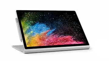 Surface Book 2 i visningsläge med skärmdetaljer och Surface-penna.