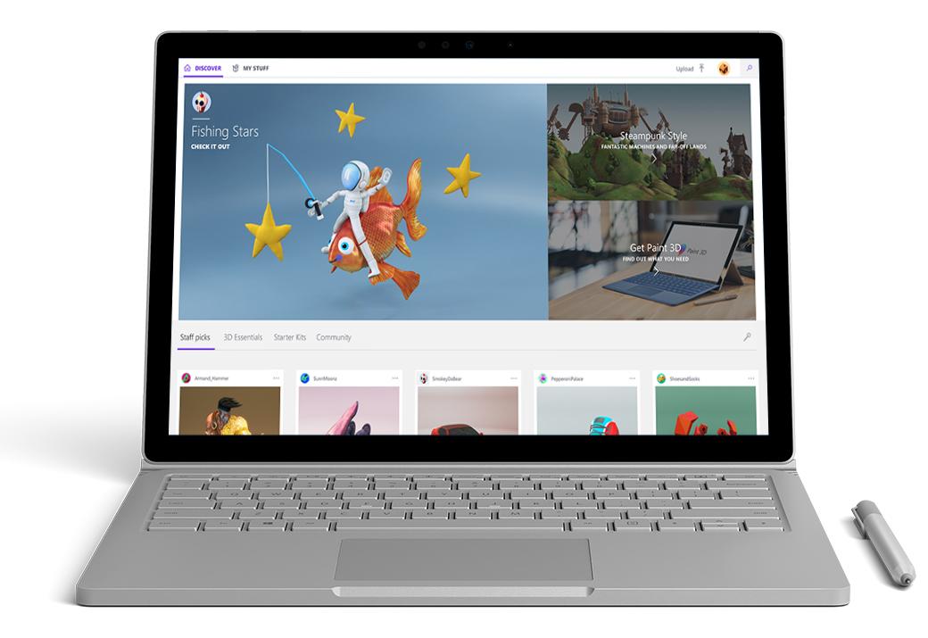 Surface Book visas framifrån med Cortana på skärmen