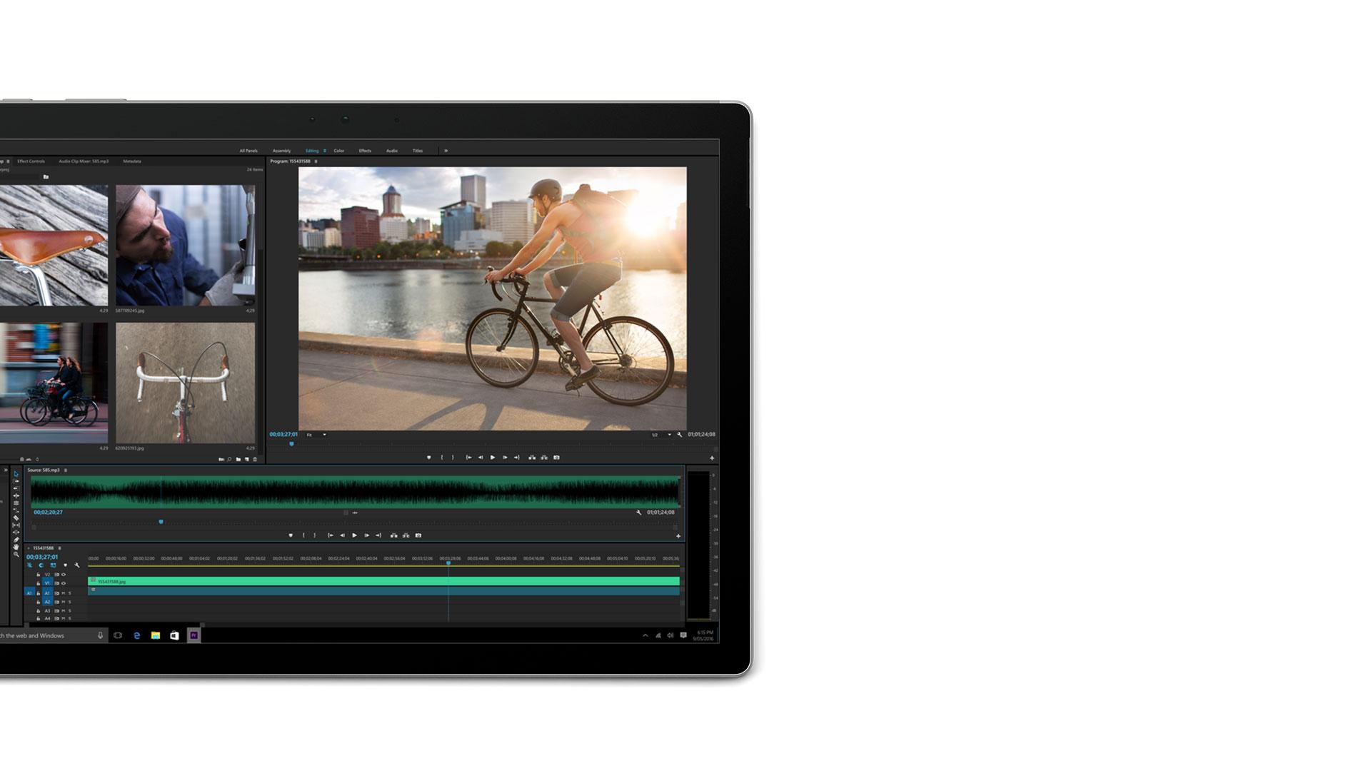 Adobe Premier öppet på Surface Book-skärmen
