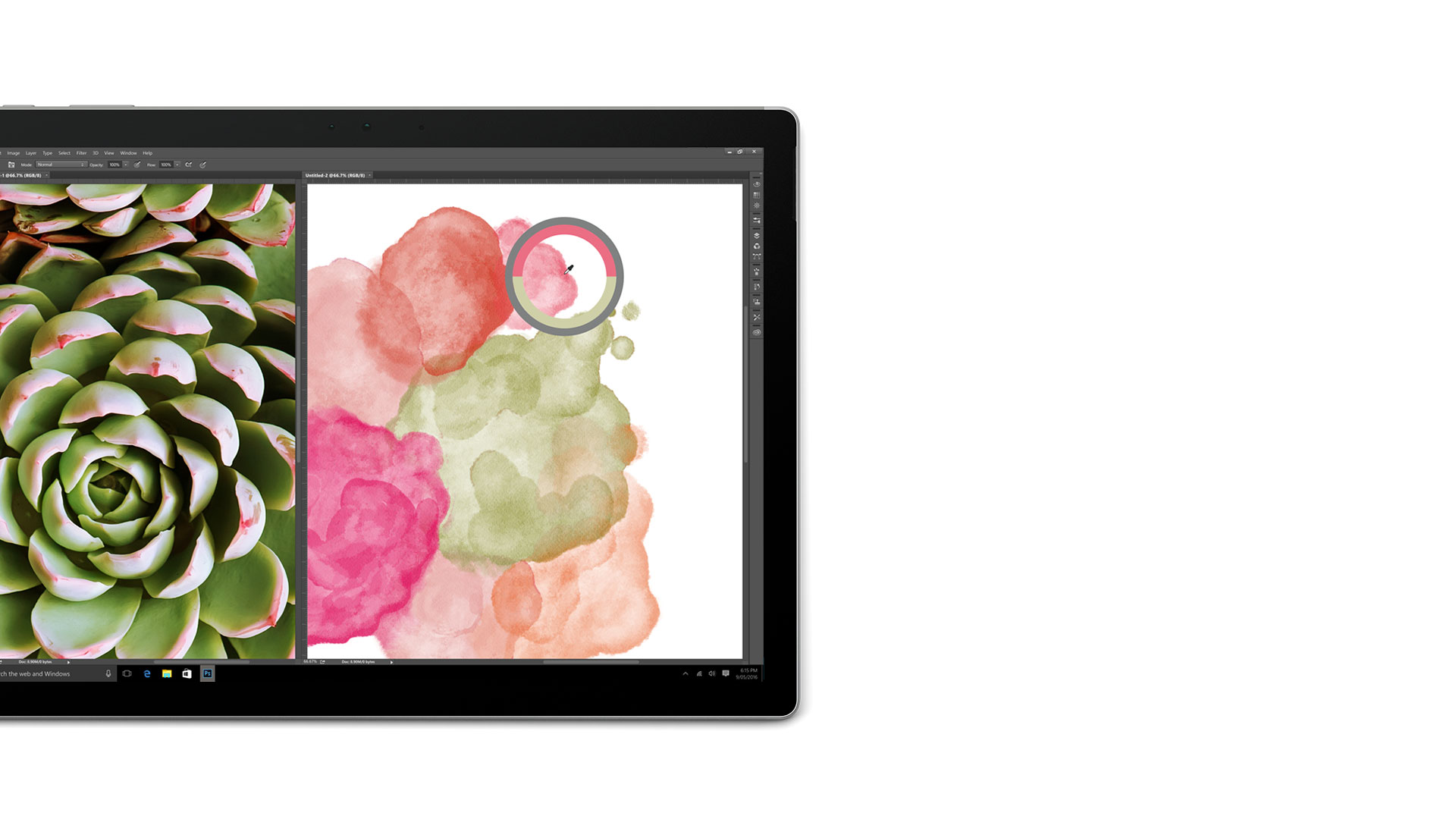 Adobe Photoshop öppet på Surface Book-skärmen
