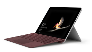 Surface Go med Surface Go Signature Type Cover i bärbar dator-läge