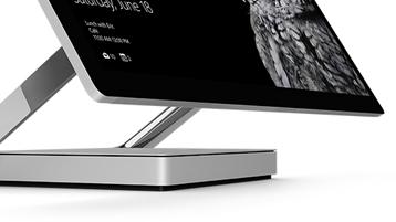 Närbild på Surface Studios gångjärn sett från sidan.