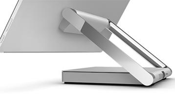 Närbild på Surface Studios gångjärn sett bakifrån.
