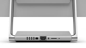 Närbild på Surface Studios baksida med externa portar.