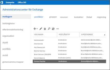 Närbild på en sida i Exchange-administrationscentret, där du hanterar e-postsystemet.
