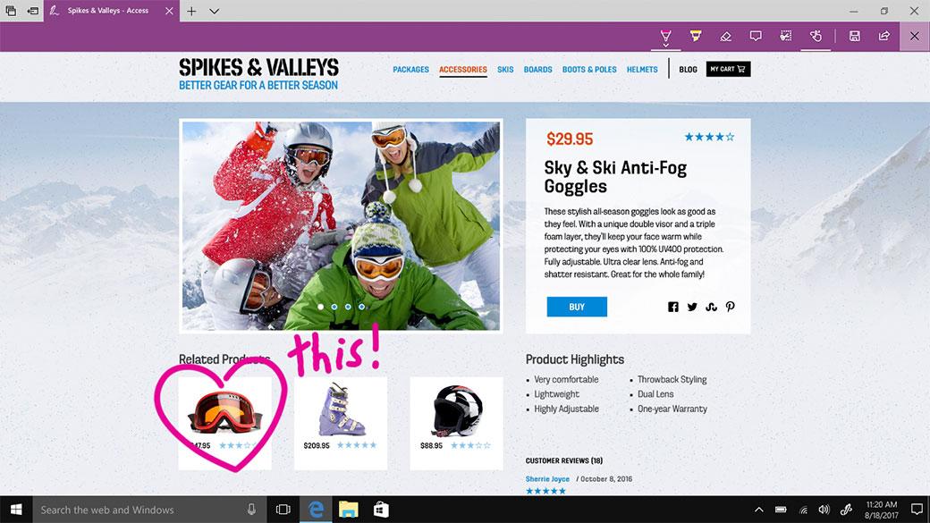 Microsoft Edge med webbanteckningar, anteckningar och delning
