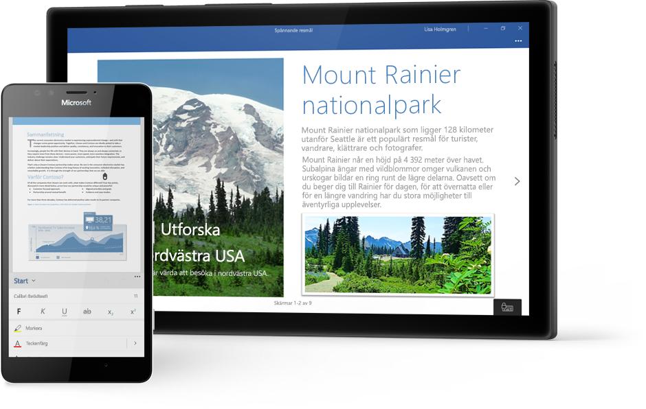 Windows-surfplatta med ett Word-dokument om Mount Rainier National Park i Word, och en telefon som visar ett dokument i Word-mobilappen