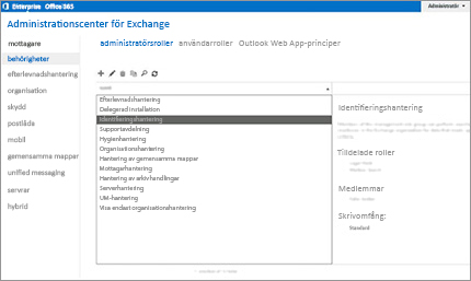 Skärmbild på behörighetssidan i Exchange-administrationscentret, där du hanterar administratörsroller.