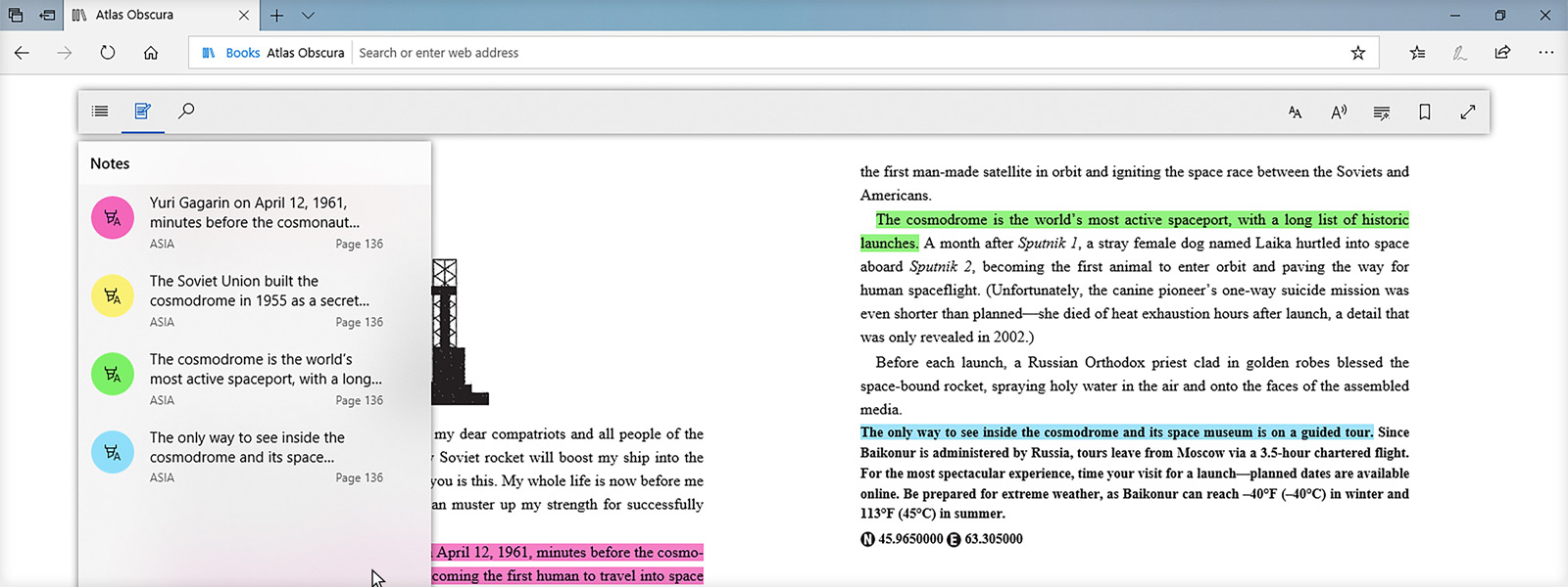 ภาพแสดงการเน้นข้อความขณะที่อ่านหนังสือภายใน Microsoft Edge
