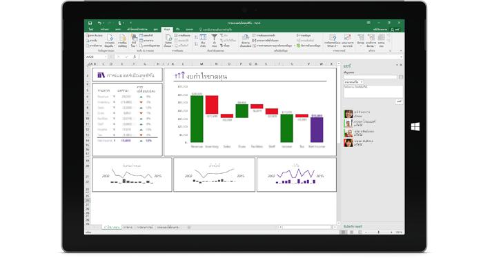 สกรีนช็อตของการแชร์หน้าใน Excel ซึ่งมีการเลือกตัวเลือก เชิญบุคคล