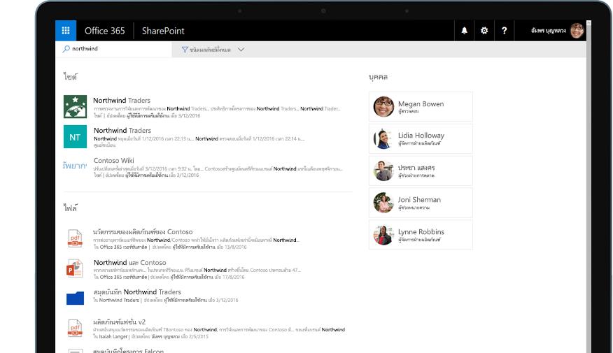 Yammer และ SharePoint บนแท็บเล็ตพีซี