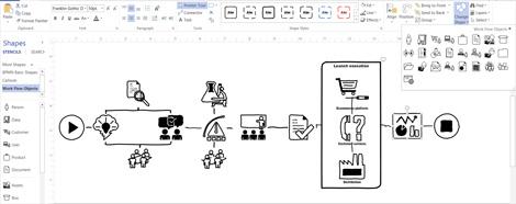 สกรีนช็อตของไดอะแกรม Visio แสดงตัวเลือกสำหรับการออกแบบด้วยตนเอง