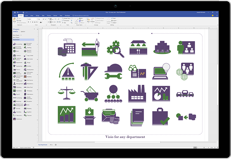 หน้าจอแท็บเล็ตแสดงภาพการเปิดตัวผลิตภัณฑ์ใน Visio