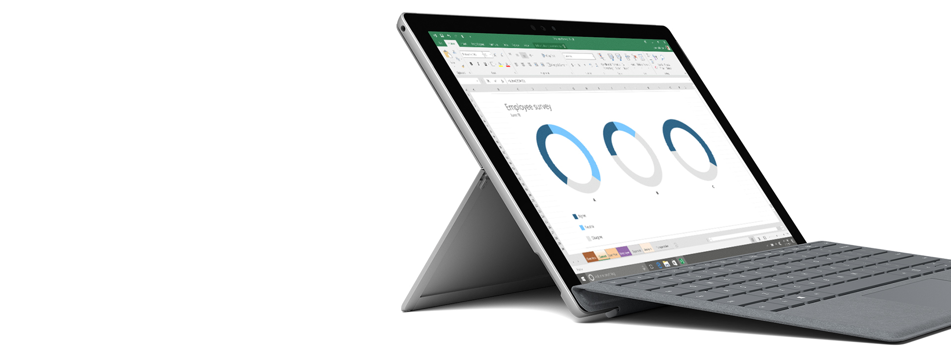 อุปกรณ์ Surface ปรากฏพร้อมภาพหน้าจอ Windows/Office
