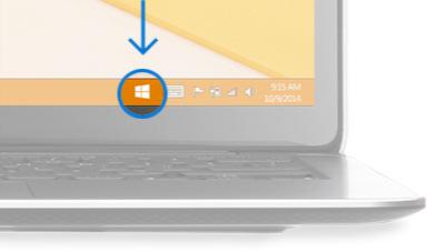 Sağ alt köşesindeki Windows simgesi bir çember içine alınmış masaüstü görüntüsü.