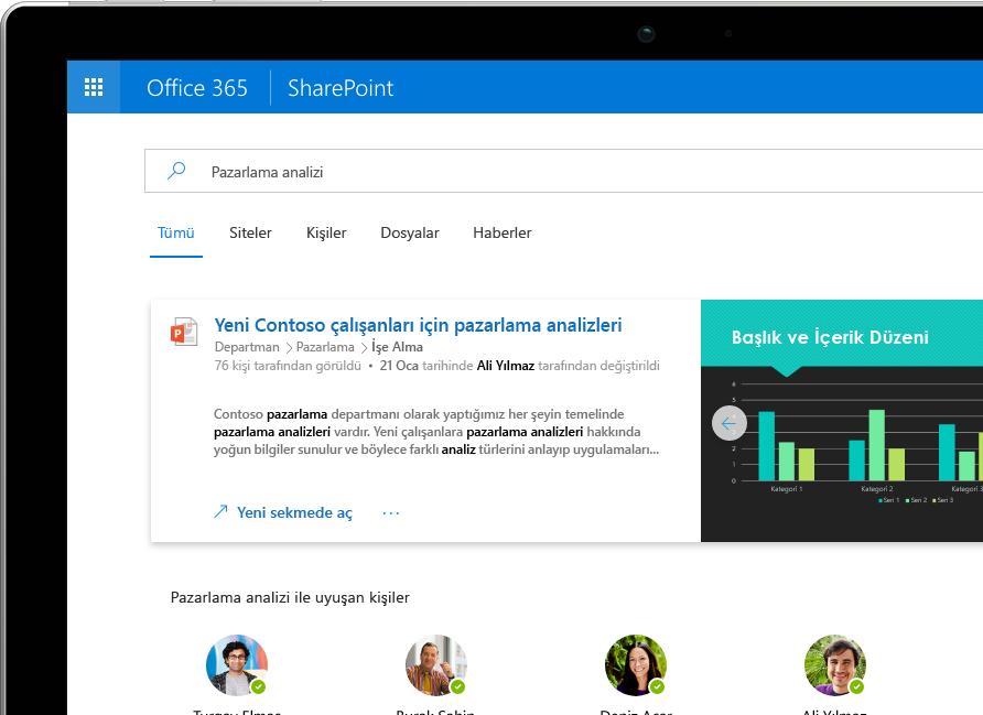 Bir Surface Pro'da Office 365 genelindeki kişiselleştirilmiş sonuçları sunarken gösterilen SharePoint'teki Akıllı Arama ve Keşif