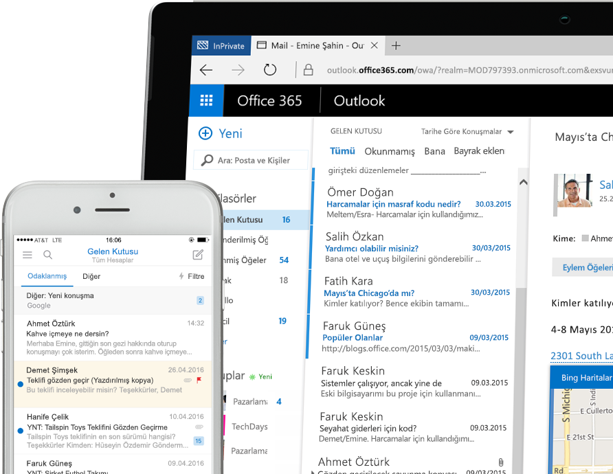 Bir akıllı telefon ve bir Windows tablet bilgisayarda görüntülenen Exchange 2016