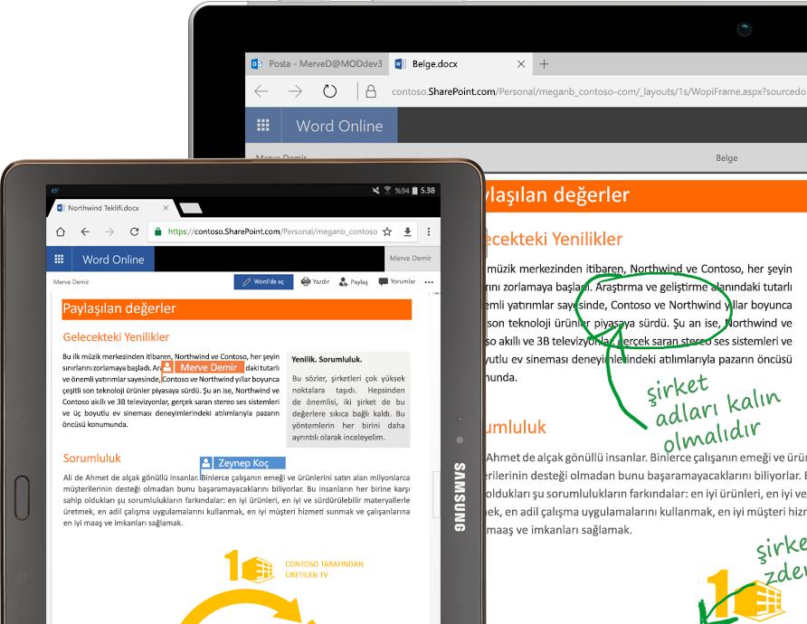 Word Online'ı çalıştıran bir dizüstü bilgisayar ve tablet