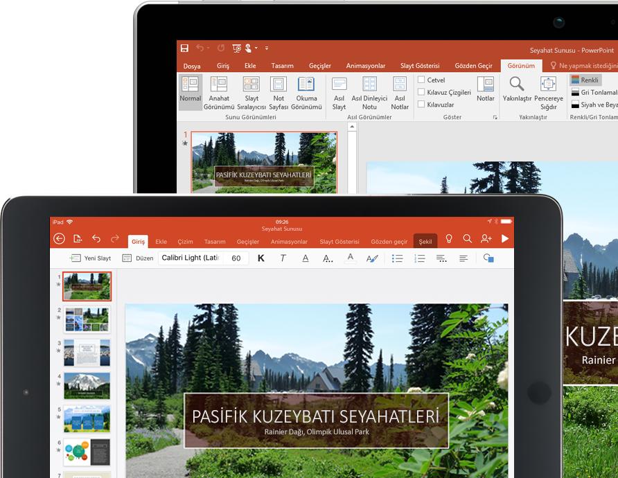 Pacific Northwest Travels hakkında bir PowerPoint sunusu görüntülenen tablet ve dizüstü bilgisayar