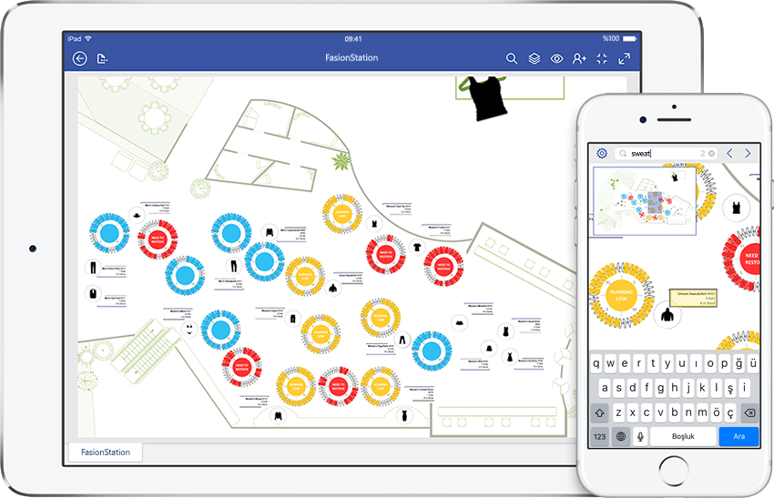 Visio'da bir bakım düzeni diyagramını görüntüleyen iPad ve iPhone