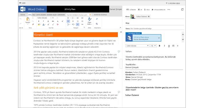 Word Online kullanan bir belge eki önizleme bölmesinin yanında görüntülenen e-posta iletisi