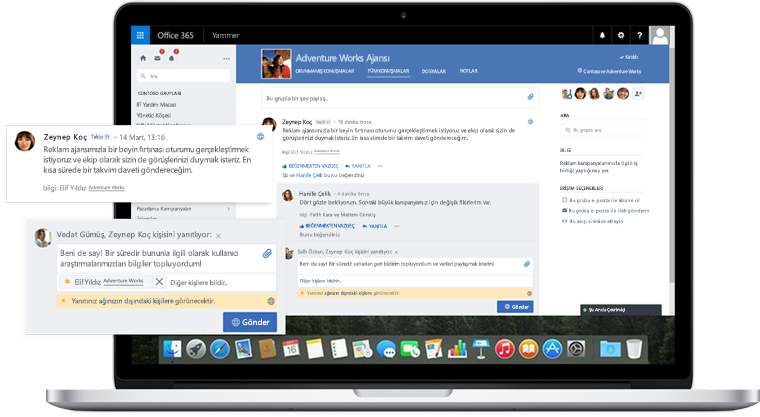 Yammer'da çalışma arkadaşları ile dış iş ortakları arasındaki bir konuşmayı gösteren dizüstü bilgisayar ekranı