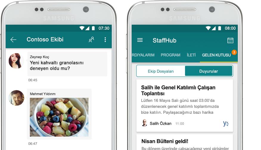 bir StaffHub sohbeti görüntüleyen bir cep telefonu ve bunun yanında StaffHub'da kurumsal bir duyuruyu görüntüleyen bir cep telefonu