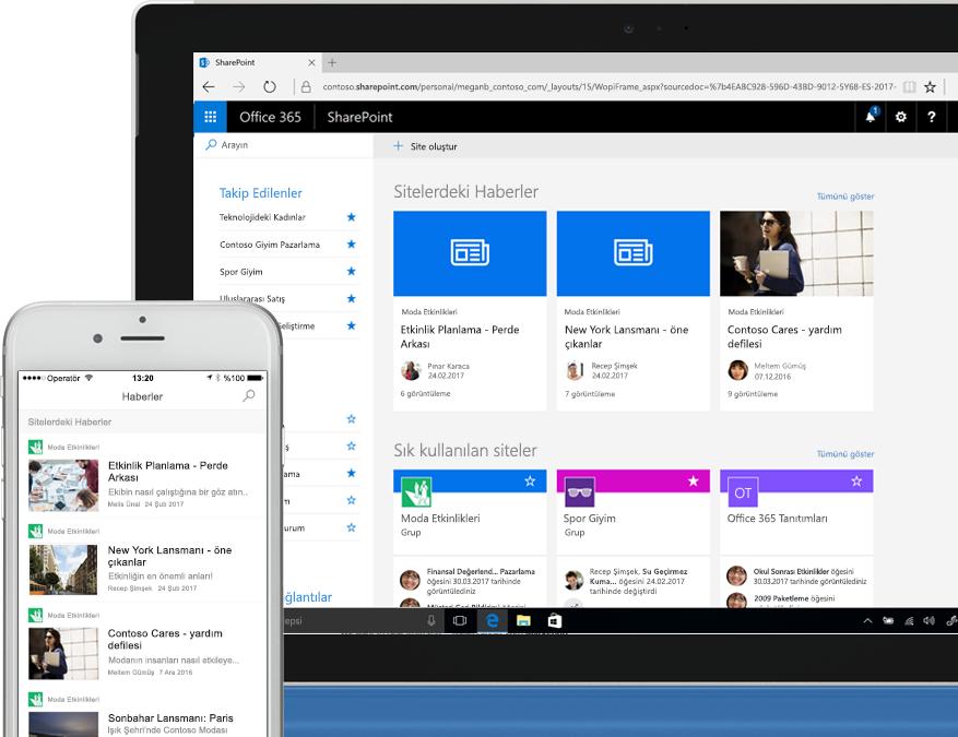 İntranet sitelerinden SharePoint haberlerini gösteren bir akıllı telefon ve dizüstü bilgisayar