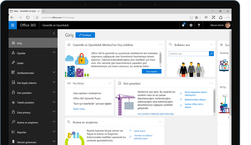Office 365 güvenlik ve uyumluluk merkezi giriş sayfasını gösteren tablet bilgisayar