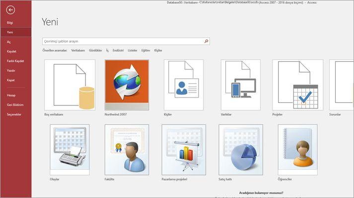 Microsoft Access'te Yeni veritabanı ekranı