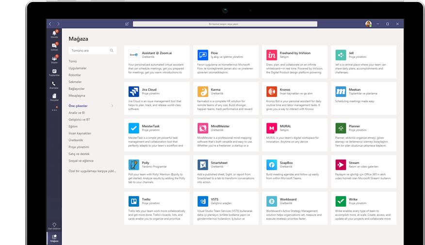 Teams'de gösterilen Microsoft App Store