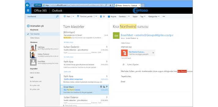 Aranılan tüm posta klasörlerini gösteren Microsoft Outlook penceresi