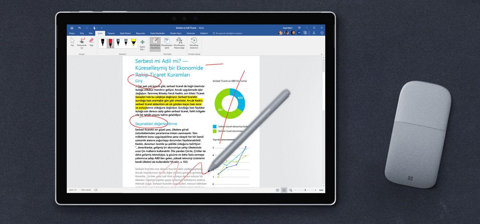Mürekkeple Düzenleme'yi gösteren tablet ekranı