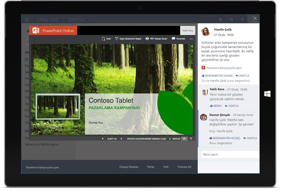 Surface tabletinde Yammer konuşmasının içinde paylaşılan ve görüntülenen bir PowerPoint belgesi