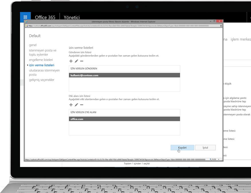 Bir Windows dizüstü bilgisayarında Office 365 Exchange Online Protection filtreleme ilkesi