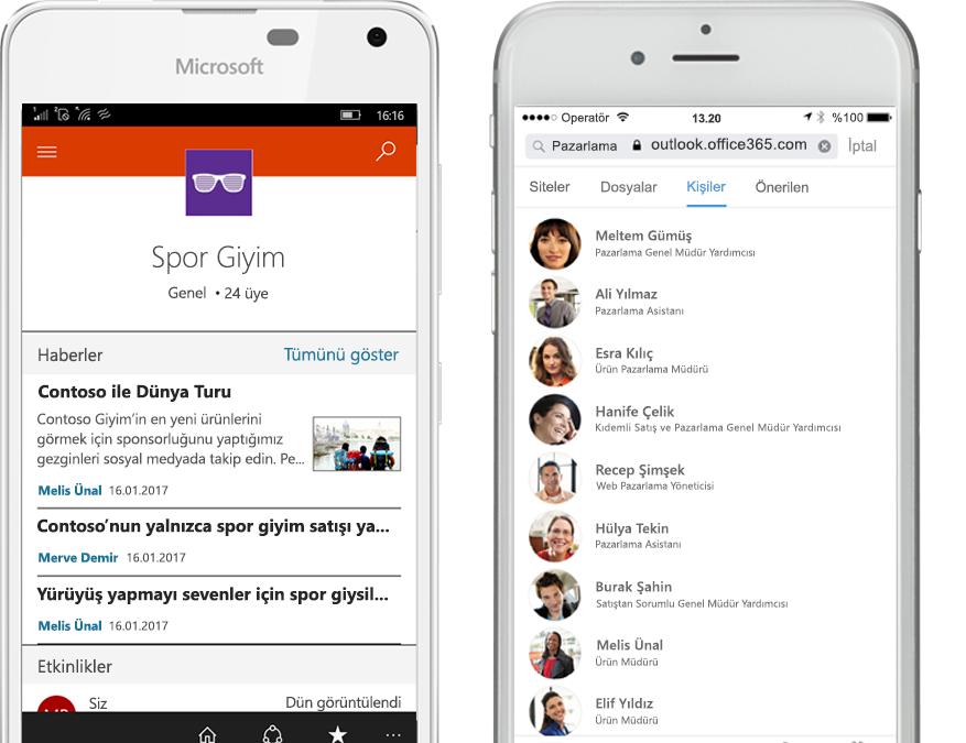 SharePoint mobil uygulamasını çalıştıran iki akıllı telefon