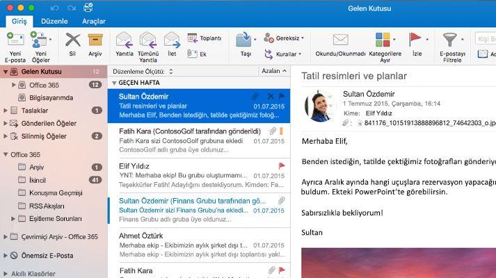 Bir ileti listesi ve önizlemenin görüntülendiği bir Microsoft Outlook 2016 gelen kutusunun ekran görüntüsü.