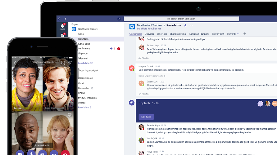 Mobil telefon ve tablette gösterilen Microsoft Teams çağrısı