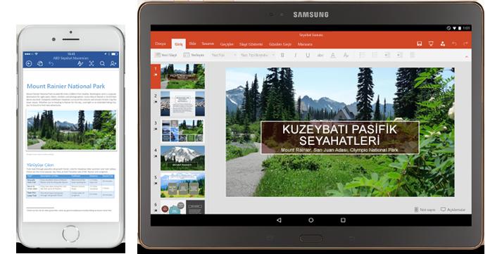 Düzenlenmekte olan bir Word belgesinin gösterildiği telefon ve düzenlenmekte olan PowerPoint slaytlarının gösterildiği tablet.