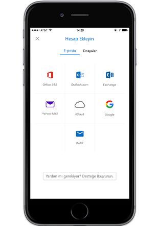 Outlook Mobile'deki Hesap Ekle ekranını gösteren bir akıllı telefon